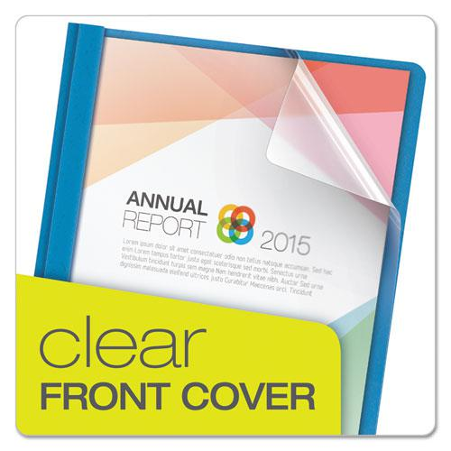 """Clear Front Report Cover, 3 Fasteners, Letter, 1/2"""" Capacity, Blue, 25/Box. Picture 2"""