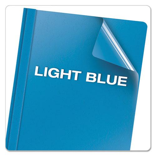 """Clear Front Report Cover, 3 Fasteners, Letter, 1/2"""" Capacity, Blue, 25/Box. Picture 5"""