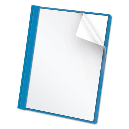 """Clear Front Report Cover, 3 Fasteners, Letter, 1/2"""" Capacity, Blue, 25/Box. Picture 1"""