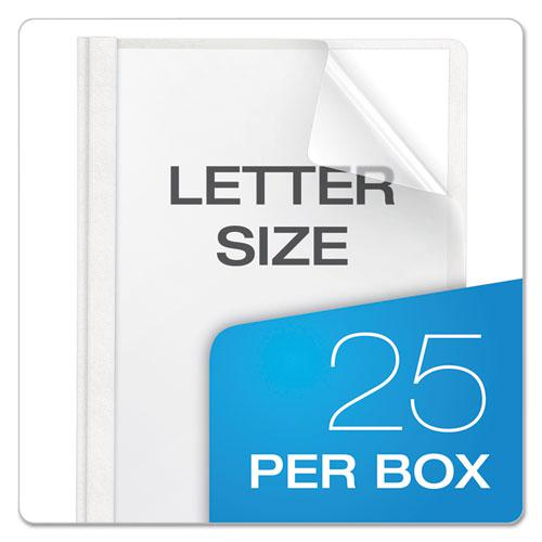 Premium Paper Clear Front Cover, 3 Fasteners, Letter, White, 25/Box. Picture 7