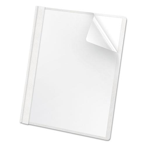Premium Paper Clear Front Cover, 3 Fasteners, Letter, White, 25/Box. Picture 1