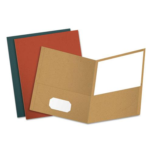 Earthwise by Oxford Recycled Paper Twin-Pocket Portfolio, Assorted Colors, 25/Box. Picture 1