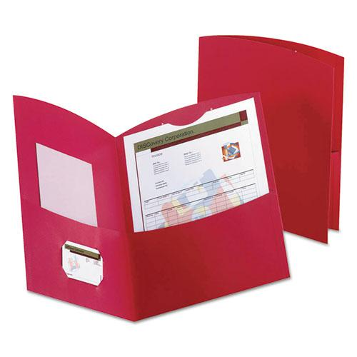 Contour Two-Pocket Folder, Recycled Paper, 100-Sheet Capacity, 11 x 8.5, Red, 25/Box. Picture 1