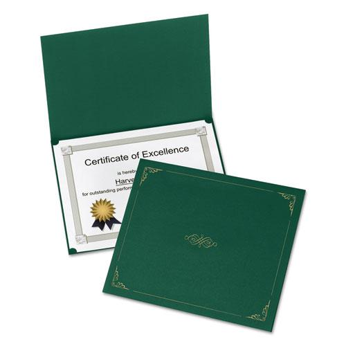 Certificate Holder, 11 1/4 x 8 3/4, Green, 5/Pack. Picture 1