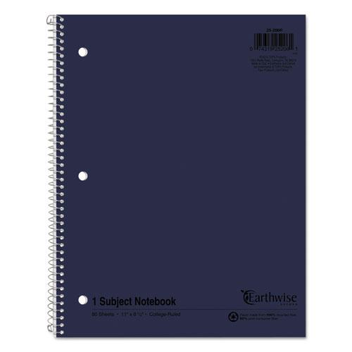 Earthwise by 100% Recycled Single Subject Notebooks, Medium/College Rule, Randomly Assorted Color Covers, 11 x 8.5, 80 Sheets. Picture 1