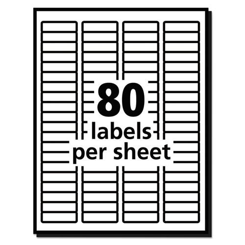 White Address Labels w/ Sure Feed Technology for Laser Printers, Laser Printers, 0.5 x 1.75, White, 80/Sheet, 250 Sheets/Box. Picture 2