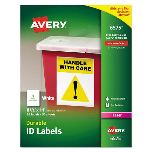 Durable Permanent ID Labels with TrueBlock Technology, Laser Printers, 8.5 x 11, White, 50/Pack. Picture 1