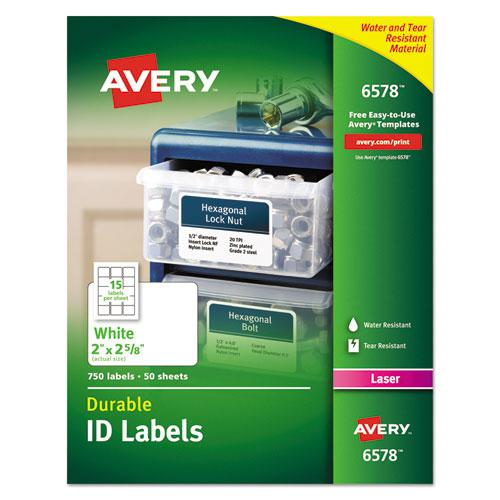 Durable Permanent ID Labels with TrueBlock Technology, Laser Printers, 2 x 2.63, White, 15/Sheet, 50 Sheets/Pack. Picture 1