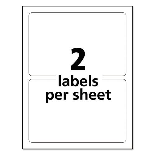 Durable Permanent ID Labels with TrueBlock Technology, Laser Printers, 5 x 8.13, White, 2/Sheet, 50 Sheets/Pack. Picture 6