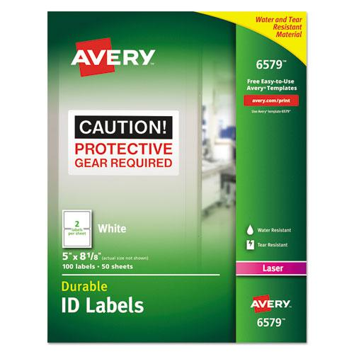 Durable Permanent ID Labels with TrueBlock Technology, Laser Printers, 5 x 8.13, White, 2/Sheet, 50 Sheets/Pack. Picture 1