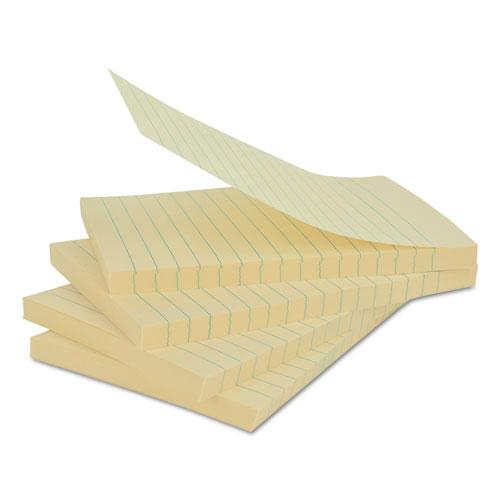Recycled Self-Stick Note Pads, Lined, 4 x 6, Yellow, 100-Sheet, 12/Pack. Picture 2