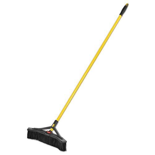 "Maximizer Push-to-Center Broom, 18"", PVC Bristles, Yellow/Black. Picture 2"