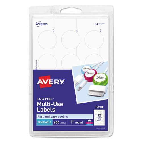 """Removable Multi-Use Labels, Inkjet/Laser Printers, 1"""" dia., White, 12/Sheet, 50 Sheets/Pack, (5410). Picture 1"""