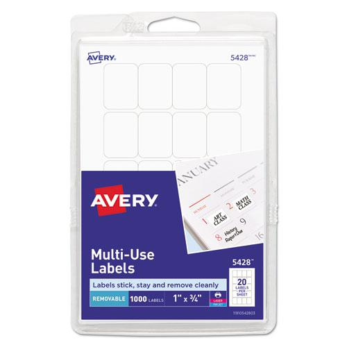 Removable Multi-Use Labels, Inkjet/Laser Printers, 1 x 0.75, White, 20/Sheet, 50 Sheets/Pack, (5428). Picture 1