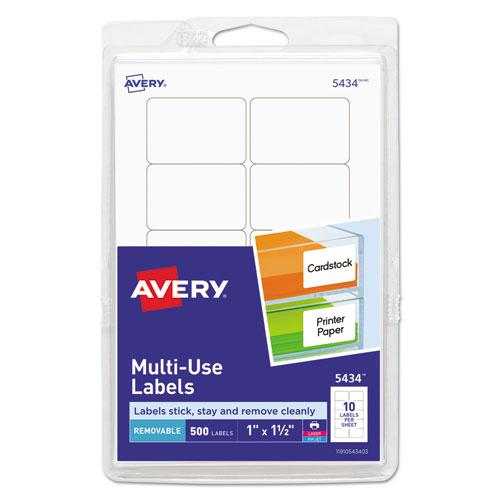 Removable Multi-Use Labels, Inkjet/Laser Printers, 1 x 1.5, White, 10/Sheet, 50 Sheets/Pack, (5434). Picture 1