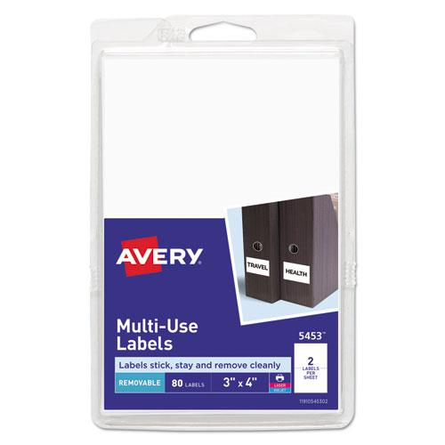 Removable Multi-Use Labels, Inkjet/Laser Printers, 3 x 4, White, 2/Sheet, 40 Sheets/Pack, (5453). Picture 1