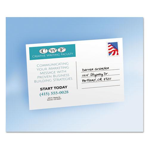 Postcards for Laser Printers, 4 1/4 x 5 1/2, Uncoated White, 4/Sheet, 200/Box. Picture 3