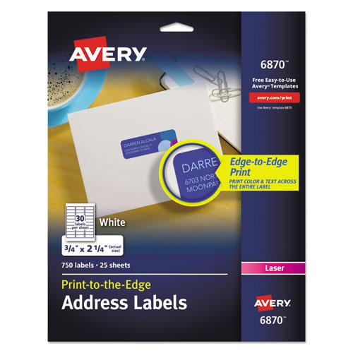 Vibrant Laser Color-Print Labels w/ Sure Feed, 3/4 x 2 1/4, White, 750/PK. Picture 1