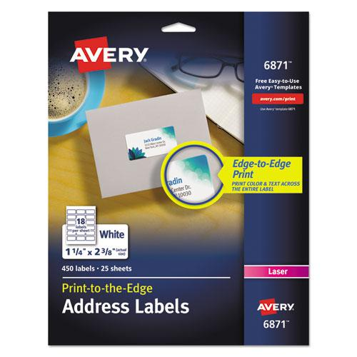 Vibrant Laser Color-Print Labels w/ Sure Feed, 1 1/4 x 2 3/8, White, 450/Pack. Picture 1