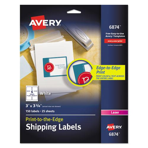 Vibrant Laser Color-Print Labels w/ Sure Feed, 3 x 3 3/4, White, 150/PK. Picture 1