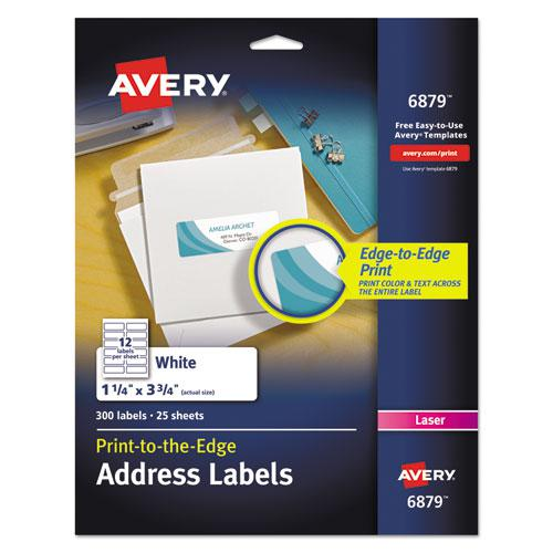 Vibrant Laser Color-Print Labels w/ Sure Feed, 1 1/4 x 3 3/4, White, 300/Pack. Picture 1