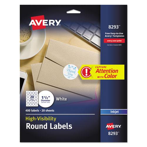 """Vibrant Inkjet Color-Print Labels w/ Sure Feed, 1 1/2"""" dia, White, 400/PK. Picture 1"""