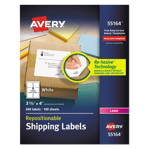 Repositionable Shipping Labels w/SureFeed, Laser, 3 1/3 x 4, White, 600/Box. Picture 1