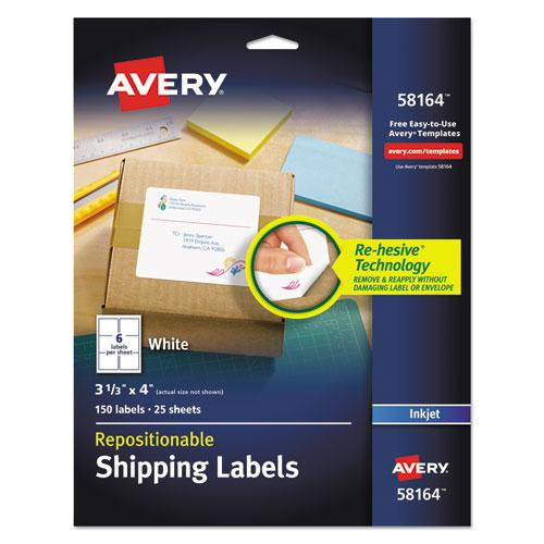 Repositionable Shipping Labels w/SureFeed, Inkjet, 3 1/3 x 4, White, 150/Box. Picture 1