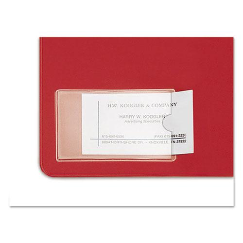 HOLD IT Poly Business Card Pocket, Top Load, 3 3/4 x 2 3/8, Clear, 10/Pack. Picture 2