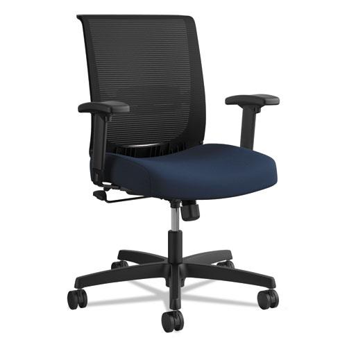 Convergence Mid-Back Task Chair with Swivel-Tilt Control, Supports up to 275 lbs, Navy Seat, Black Back, Black Base. Picture 1