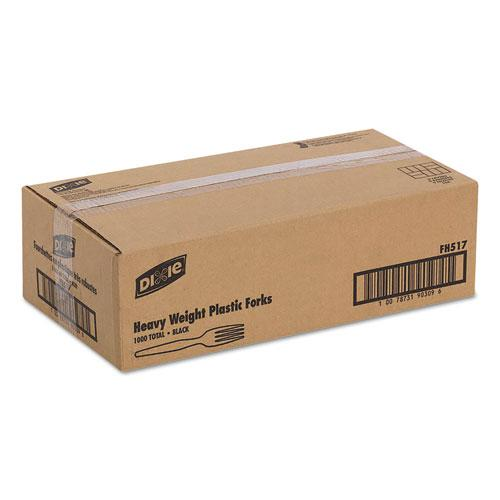 Plastic Cutlery, Heavyweight Forks, Black, 1,000/Carton. Picture 2