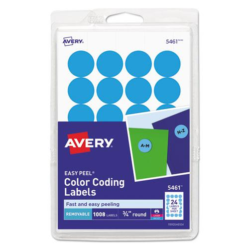 """Printable Self-Adhesive Removable Color-Coding Labels, 0.75"""" dia., Light Blue, 24/Sheet, 42 Sheets/Pack, (5461). Picture 1"""