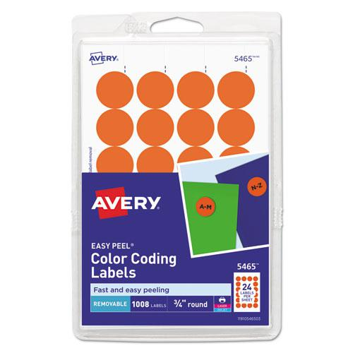 """Printable Self-Adhesive Removable Color-Coding Labels, 0.75"""" dia., Orange, 24/Sheet, 42 Sheets/Pack, (5465). Picture 1"""