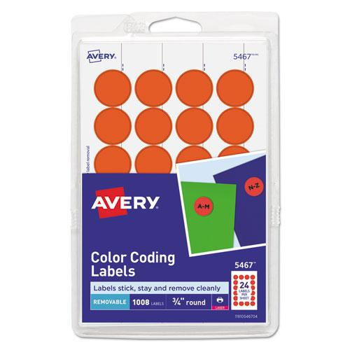 """Printable Self-Adhesive Removable Color-Coding Labels, 0.75"""" dia., Neon Red, 24/Sheet, 42 Sheets/Pack, (5467). Picture 1"""