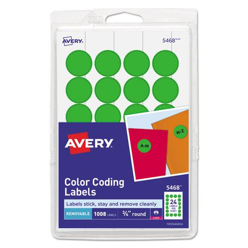 """Printable Self-Adhesive Removable Color-Coding Labels, 0.75"""" dia., Neon Green, 24/Sheet, 42 Sheets/Pack, (5468). Picture 1"""