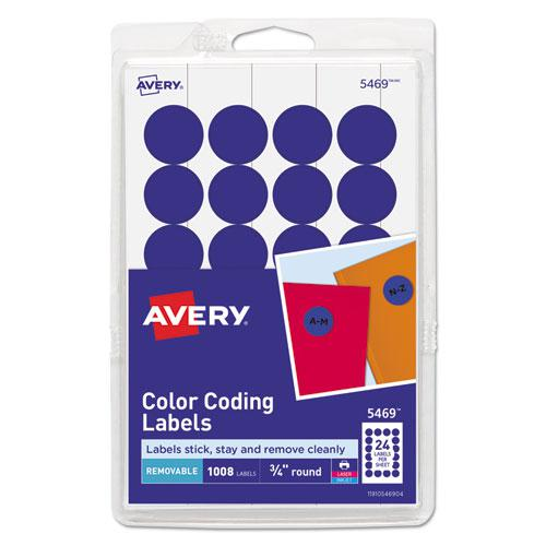 "Printable Self-Adhesive Removable Color-Coding Labels, 0.75"" dia., Dark Blue, 24/Sheet, 42 Sheets/Pack, (5469). Picture 1"