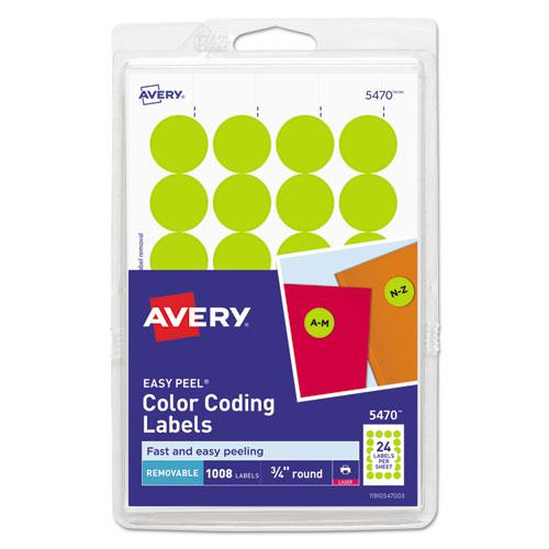 """Printable Self-Adhesive Removable Color-Coding Labels, 0.75"""" dia., Neon Yellow, 24/Sheet, 42 Sheets/Pack, (5470). Picture 1"""