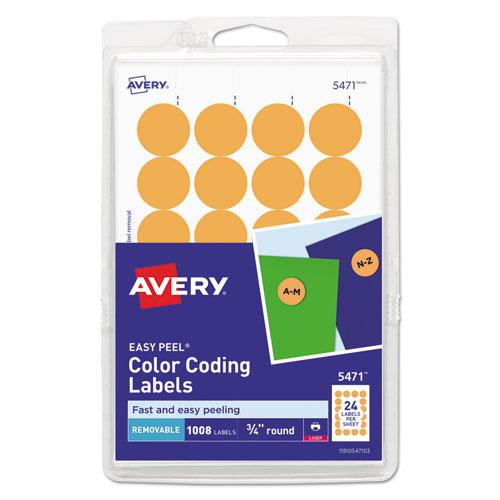 """Printable Self-Adhesive Removable Color-Coding Labels, 0.75"""" dia., Neon Orange, 24/Sheet, 42 Sheets/Pack, (5471). Picture 1"""