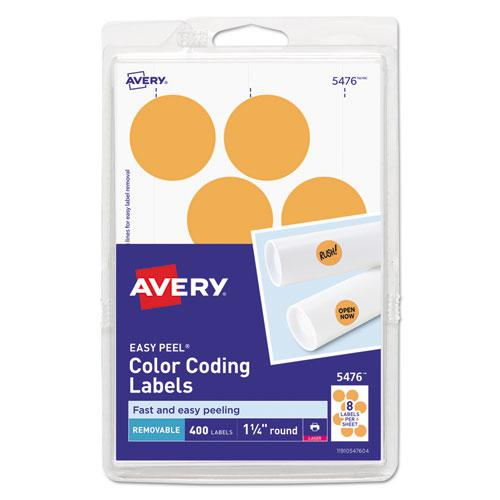 """Printable Self-Adhesive Removable Color-Coding Labels, 1.25"""" dia., Neon Orange, 8/Sheet, 50 Sheets/Pack, (5476). Picture 1"""