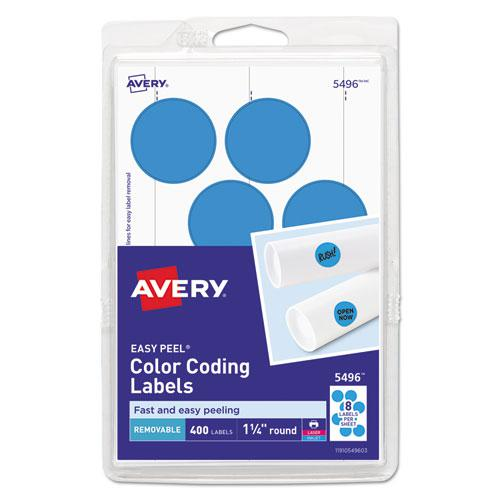 """Printable Self-Adhesive Removable Color-Coding Labels, 1.25"""" dia., Light Blue, 8/Sheet, 50 Sheets/Pack, (5496). Picture 1"""