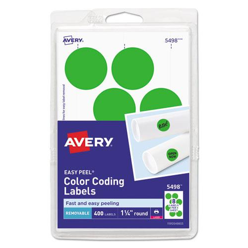 """Printable Self-Adhesive Removable Color-Coding Labels, 1.25"""" dia., Neon Green, 8/Sheet, 50 Sheets/Pack, (5498). Picture 1"""