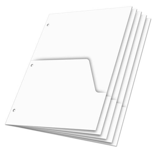 Double Pocket Dividers for Ring Binders, 11 x 8.5, White, 5/Pack. Picture 2