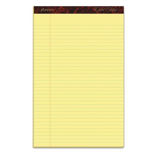 Gold Fibre Quality Writing Pads, Wide/Legal Rule, 50 Canary-Yellow 8.5 x 14 Sheets, Dozen. Picture 1
