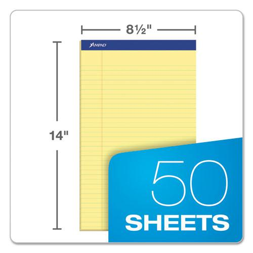 Recycled Writing Pads, Wide/Legal Rule, 8.5 x 14, Canary, 50 Sheets, Dozen. Picture 2