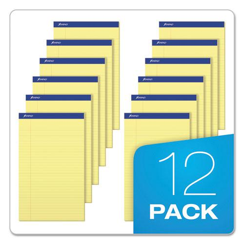 Recycled Writing Pads, Wide/Legal Rule, 8.5 x 14, Canary, 50 Sheets, Dozen. Picture 6