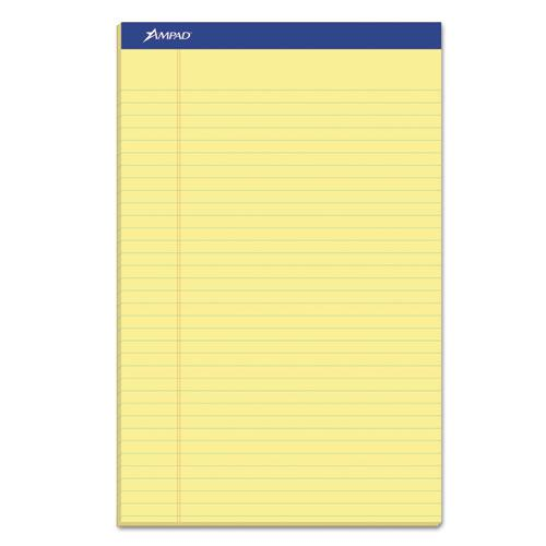 Recycled Writing Pads, Wide/Legal Rule, 8.5 x 14, Canary, 50 Sheets, Dozen. Picture 1