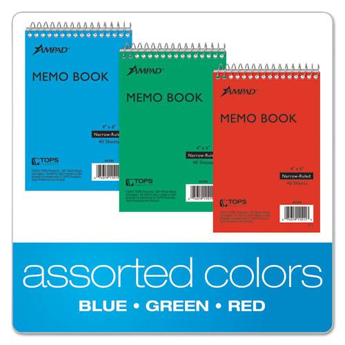 Memo Books, Narrow Rule, 6 x 4, White, 40 Sheets, 3/Pack. Picture 4