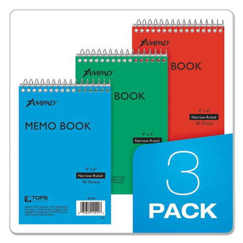 Memo Books, Narrow Rule, 6 x 4, White, 40 Sheets, 3/Pack. Picture 5