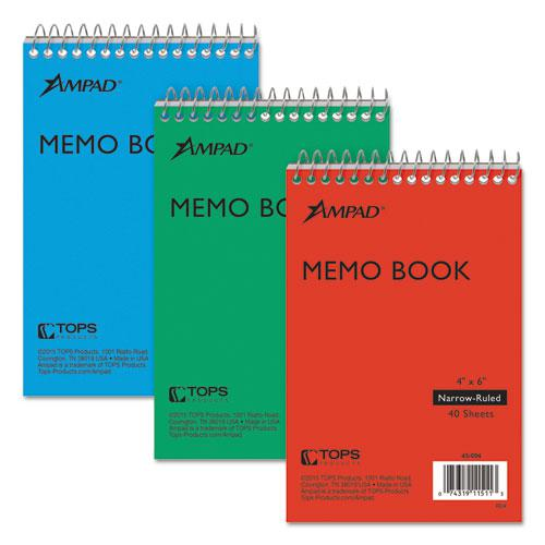 Memo Books, Narrow Rule, 6 x 4, White, 40 Sheets, 3/Pack. Picture 1