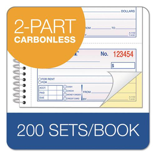 Two-Part Rent Receipt Book, 2.75 x 4.75, Carbonless, 200 Forms. Picture 3